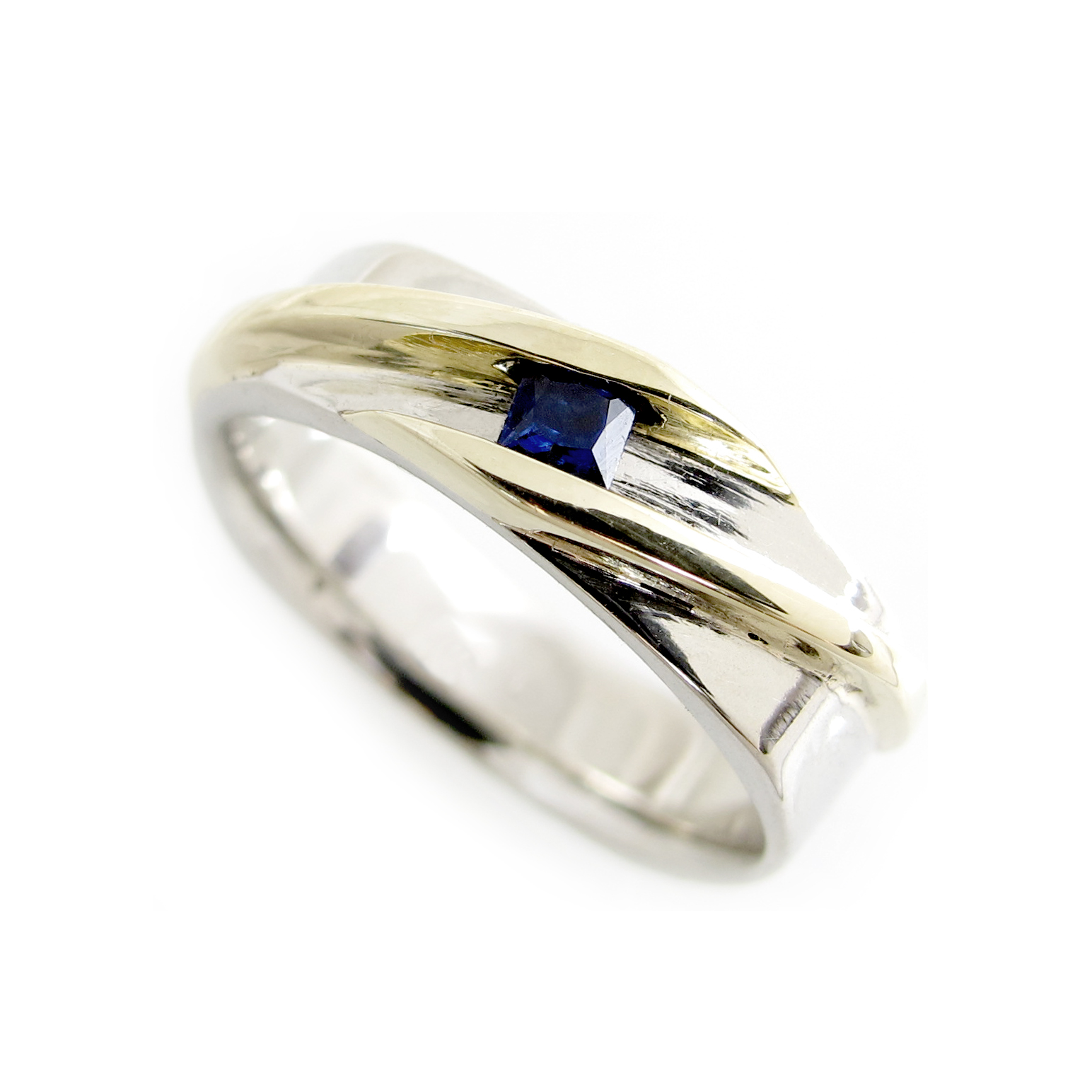 Custom Two Tone Yellow and White Gold Princess Sapphire Mens Ring