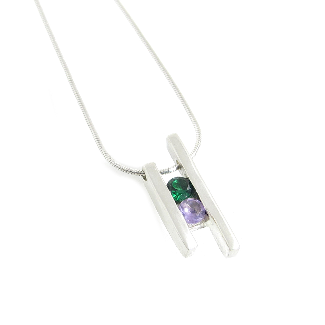 Channel Set Birthstone Pendant with Synthetic Emerald and Genuine Amethyst
